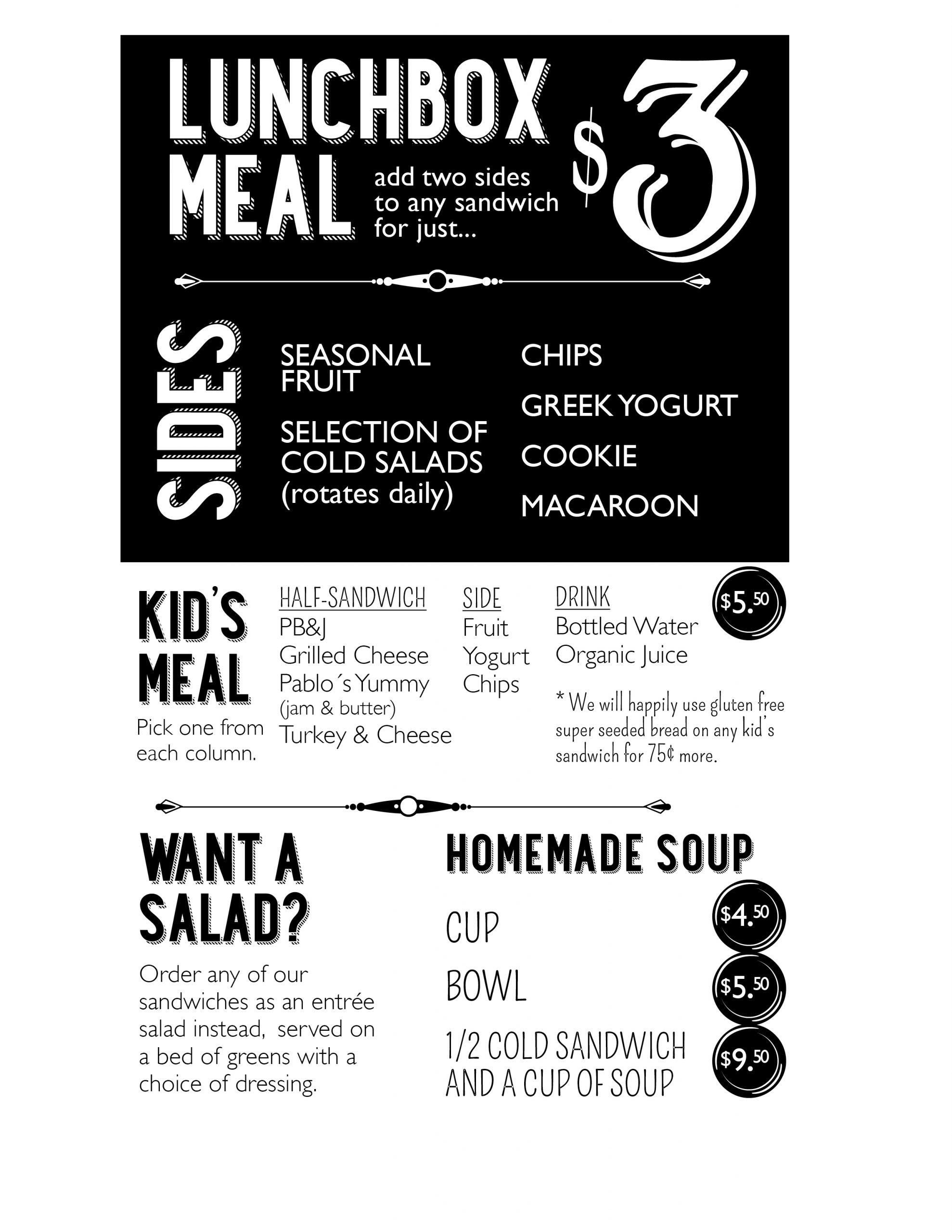 Lucky Lunchbox Menu Window Meal 2020